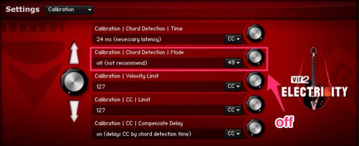 「calibration   Chord Detection   Mode」をoffに