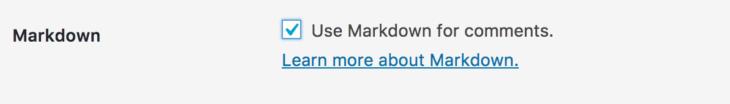 コメント欄でMarkdownを有効化