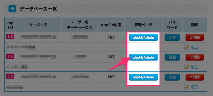phpMyAdminをクリック