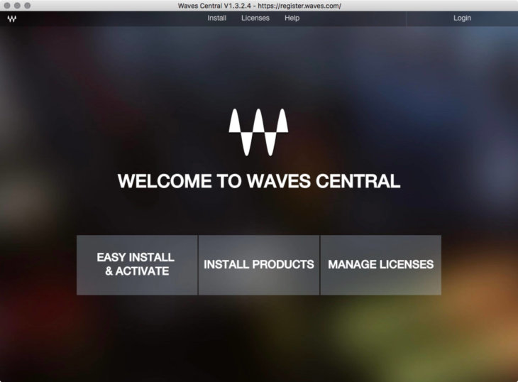 Waves CentralのWelcomeスクリーン